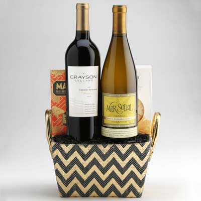 """Wine Gift Basket with Red and White Wines from Wally's Wine in Los Angeles. """""""